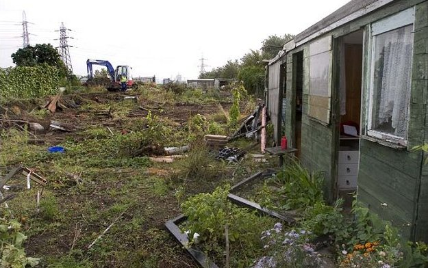 demolition of manor Garden Allotments on 2012 Olympic site Nov 2007