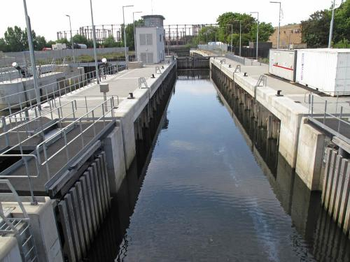 Prescott Lock which has impounded the waterways of the London Olympic Park