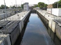 Prescott or City Mill Lock which has impounded the waterways of the London Olympic Park