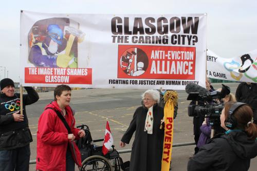 Poverty Olympics torch handover in Glasgow