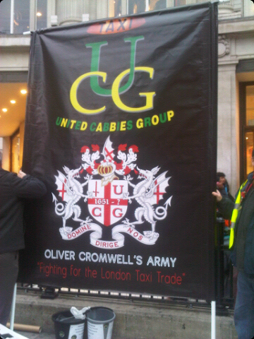 United Cabbies' banner: 'Fighting for the London Taxi trade'