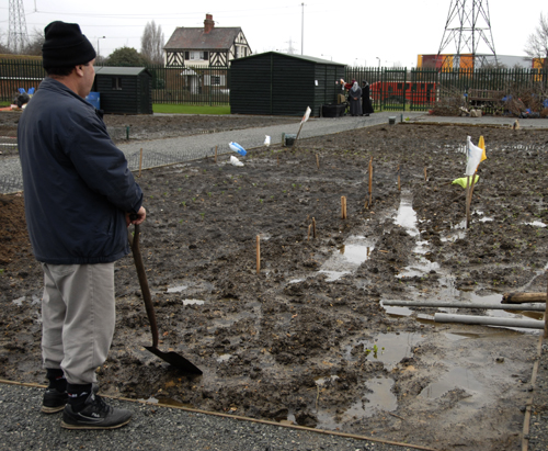 Waterlogged Allotments at Marsh Lane Fields.  Feb  2008 ©Martin Slavin