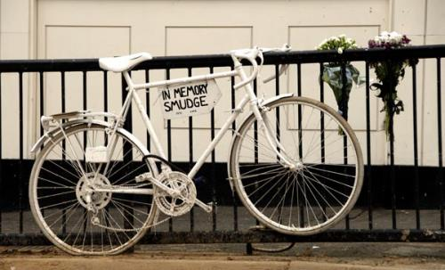 .: White bike memorial to a cyclist killed by a lorry at Middleton Rd in Hackney in 2008.