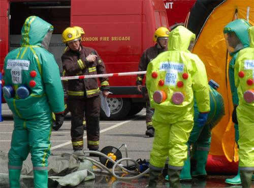 Emergency services anti-terror exercise.: Simulation of a biochemical attack.