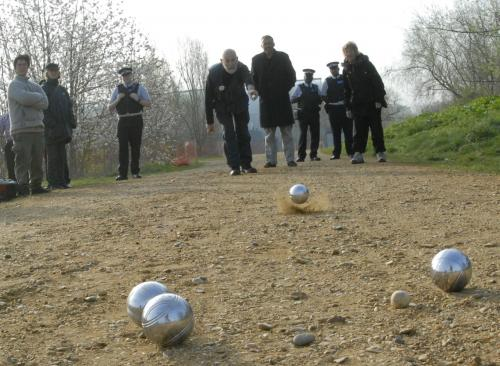 Peaceful non-cooperation: locals and supporters play boules on Sandy Lane Leyton Marshes