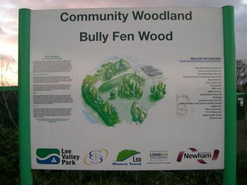 Bully Fen Wood: sign booard for Bully Fen Community Woodand