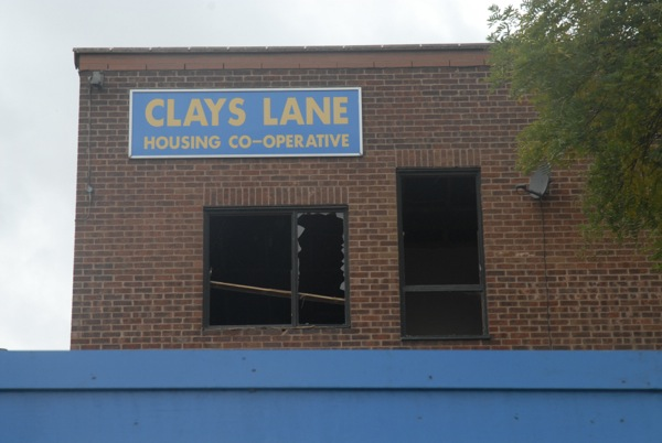 Clays Lane Housing Cooperative: seen here after its destruction had begun, it was home to 500 people. It was not replaced.