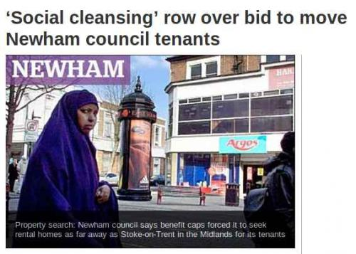Convergence: Screengrab from London Evening Standard,  http://www.standard.co.uk/news/london/social-cleansing-row-over-bid-to-move-newham-council-tenants-7675561.html