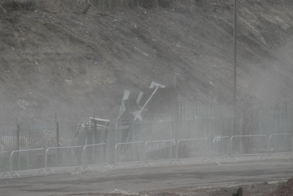 Dust: blowing around the Olympic construction site. Inhalation of radioactive dust would not create a positive health outcome
