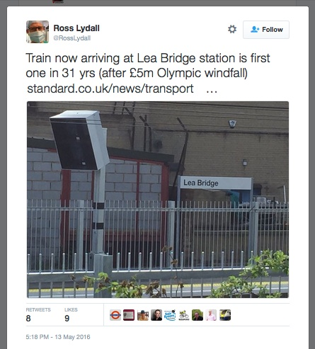 """£5m Olympic windfall"": Tweet trumpetting Lea Bridge Station re-opening as Olympics windfall"